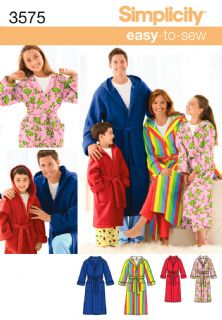 3575 Simplicity Pattern: Child's, Teens' and Adults' Sleepwear
